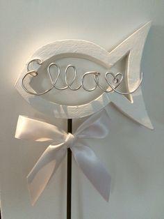 #Taufe#Deko#Fisch#Stecker für den Blumenkübel