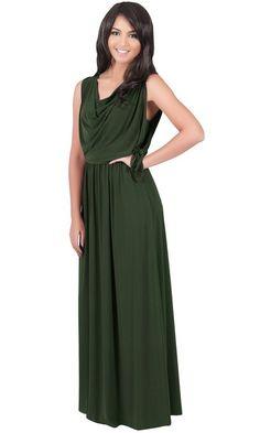 9d253ca6aec Koh Koh Women s Cowl Neck Drape Front Sleeveless Maxi Dress - XX-Large -  Olive