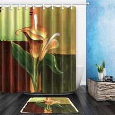 Floral Shower Curtain Home Decor Calla Flowers Decoration Shower Curtain Vintage Design For Bathroom With 12 Hooks
