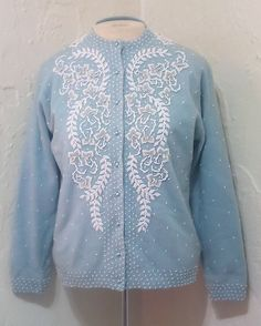 Vintage 1960s Baby Blue Beaded Cardigan Rockabilly by KitschArts