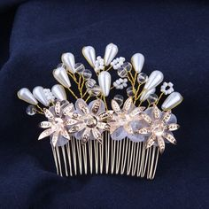 Handmade Bridal Hair Comb Pearl Gold Flowers Usa Bride Hairpiece