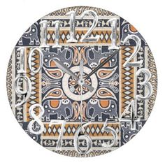 """Title : 3, India Fashion, Floral Pattern Print Large Clock  Description : Fashions, """"Trendy-Designs"""", """"Stylish-Décor"""", Fabrics, Patterns, Bohomian, Moroccan, India, Decorations, Contemporary, Modern, Ethnic, Boho, Tribal, Kilim, Tapestries, Unique, Abstract, Flowers, Floral, Gypsy, Paisley, Art, Chic, Hippie, """"Eastern-Europe"""", """"Quilting-Fabrics"""", """"Home-Décor"""", """"Home-Accents"""", Colorful, Geometric, Cute, Whimsical, Batik, Retro, Vintage, """"Native-American"""", """"Tribal-Prints, Kaleidoscope…"""