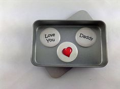 Dad, Love You Daddy Magnet Set. 3 x magnets complete with gift tin. Perfect for Birthdays, Fathers Day or just to say I Love You, Cute Say I Love You, My Love, Unique Gifts For Dad, Tin Gifts, Daddy Gifts, A4 Paper, Cute Love, Fathers Day, Magnets