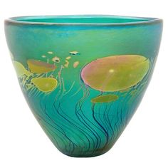 """Giverny Small Bowl Light Green/Copper Blue"" Art Glass Bowl Created by Robert Held Glass Vessel, Mosaic Glass, Fused Glass, Glass Bowls, Vases, Art Of Glass, Green Copper, Blue Art, Glass Art"