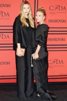 Elizabeth Olsen and Mary Kate Olsen 2013 CFDA Awards red carpet.