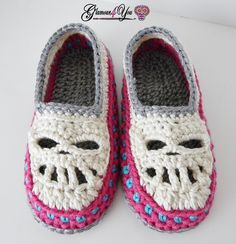 Glamour Skull Slipper Shoes - Women Sizes - Glamour4You (need to add around the eyes to make it more dia des Los Muertos)
