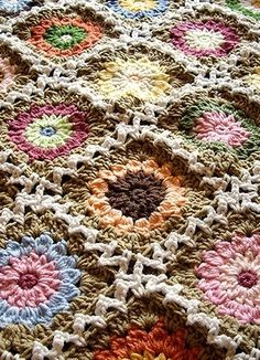 normally not a real fan of this pattern and yarn choices, I really like this one because the centers look like flowers !
