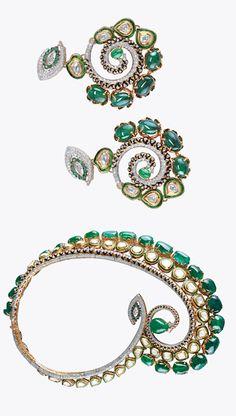 Necklace and earrings,  by Sawansukha,Kolkata.  Zambian emeralds and diamonds in yellow gold.
