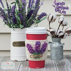 Ravelry: Lavender Farmhouse Cup Cozy pattern by The Ginger Hooker Crochet Coffee Cozy, Crochet Cozy, Crochet Hook Sizes, Crochet Hooks, Linen Stitch, Mug Cozy, Cute Cups, Moss Stitch, Crochet Kitchen