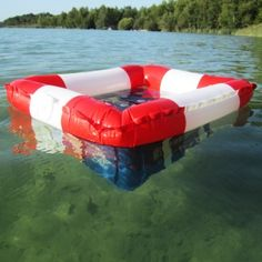 Summer drinking! Inflatable floating beverage carrier.
