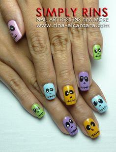Halloween Colorful Skulls Nail Art Design