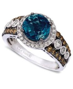 Le Vian Blue Topaz (2 ct. t.w.) and White and Chocolate Diamonds (3/4 ct. t.w.) Statement Ring in 14k White Gold