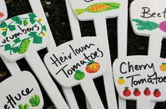 Cute DIY plant markers for the vegetable garden.  Would be great gift for the gardeners in my family!