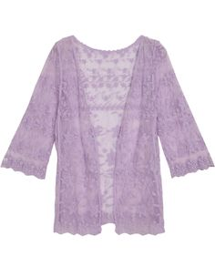 Purple Sheer Lace Slim Blouse 16.00
