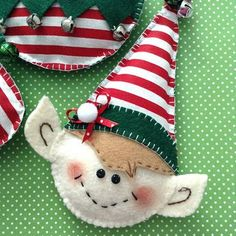 Christmas Elf Ornaments - Whimsical and very Cute Set of Elf Ornaments - handmade and design different shapes. This is a set of 3 , one is a round elf ball , cute elf slipper and a lovely elf face. All of the three handmade ornaments made of felt and fabric also decor with ribbons - Pom Pom - jingle bells..... They are so adorable perfect ornaments for a ELF Lovers for this Christmas Decoration this Season. Great for Christmas Tree , Garland , Staircase , Fireplace , Gift Wrap .....You will…