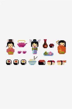 Les jeunes filles aux sushis - Diagrammes point de croix - DMC
