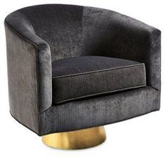 Hollings Striated Velvet Pedestal Accent Chair, Charcoal Gray -- A welcoming seating option, this luxurious swivel chair is fashioned with velvety upholstery and a barrel silhouette. A gleaming golden base lends its design a splash of contemporary panache. Made in the USA.