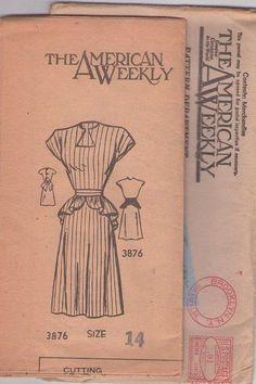 Mail Order 3876 Vintage 40's Sewing Pattern