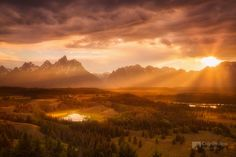 Grand Tetons Summer Evening Rays (by Chip Phillips)