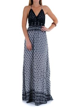 9cfd34c6f Black maxi that features adjustable spaghetti straps that tie in the back.  Crocheted overlay bust