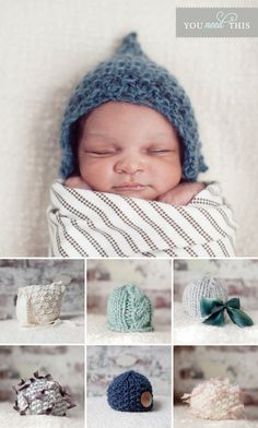 Baby Couture - Crocheted hats for newborns