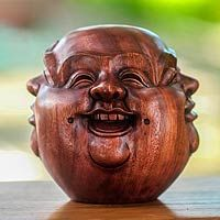 Wood sculpture, 'Buddha's Four Faces'The artisans suggest you place the sculpture on a desk or shelf near you, and turn the face to display your current mood.