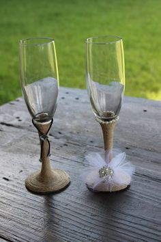 Wedding crafts diy bride and groom glasses darice diy wedding rustic bride and groom wedding champane toasting flutes handcrafted glasses solutioingenieria Choice Image