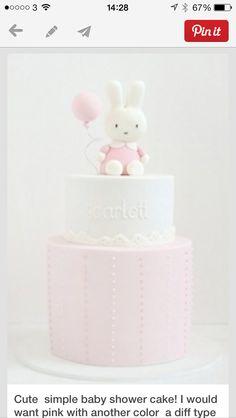 Miffy cake Miffy Cake, Christening Cakes, Simple Baby Shower, Baby Shower Cakes, Amazing Cakes, March, Birthday Cake, Children, Pink