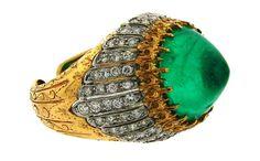 1970s BUCCELLATI SUGARLOAF EMERALD DIAMOND GOLD RING Signed Italy Size 7.5 #Buccellati #Cocktail