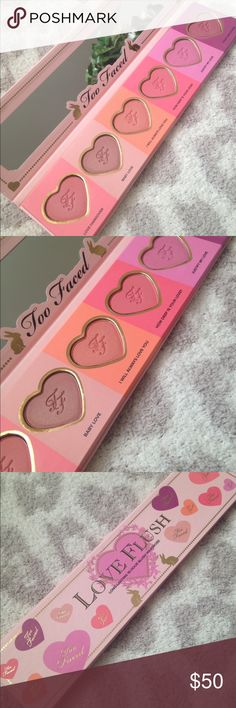 Too Faced Love Flush Blush Palette Too Faced Love Flush Blush Palette brand new but without box. I had purchased two with the thought of having one as a backup. Parting ways with this palette depot the one I kept shown in last photo. Shades: Love Hangover, Baby Love, I will always love you, How deep is your love, Justify my love and Your love is King too faced  Makeup Blush