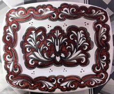 Vassoio rosso/seppia | Ceramiche Rinascita