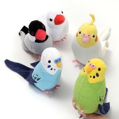 "This little bird corp here is volunteering as your decoration squad! Blue Budgerigar, Green  Budgerigar, Java Sparrow, Cockatiel, Yellow Budgerigar, and Gray Java Sparrow could just as well be you real birds as they're about 3.7"", and they come with a clip on the bottom to help them perch on various objects in your home~  #tokyootakumode #plushie #Birds"