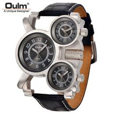 Mens Watches Oulm Top Brand Luxury Military Quartz Watch Unique 3 Small Dials Leather. Description:          - We focus on the manufacturing process. Every part of every Oulm watch is meticulous and durable.          - A Unique Designer, easy to dress.                     Main Features:          - Oulm Men Quartz Watch          - Leather Strap Watch for Men.          - High precision quartz movement with the latest breakthrough Technology.          - Genuine Leather Watch Male Sport…