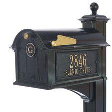 Balmoral Post Mounted Mailbox with Rain Overhang