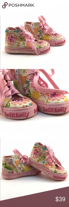 Lelli Kelly girls hand beaded ankle high top Lelli Kelly Fior Di Pesco LK8057 White Shoe Boot Pink Hand Beaded Ankle High Top Lelli Kelly Kids Shoes Sneakers