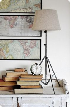 Maps! - I would like to do something like this for 1-A in the den I think. I'm seeing a travel theme over all I think.