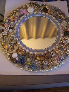 Jewelry covered mirror! - I love this.....want to try and make one with all my broken jewelery