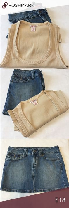 "Guess Jeans Skirt & Tank Bundle Guess Jeans skirt and tank top bundle. Skirt: blue denim mini. 5 pockets. Belt loop. Size 27. 12.5"" long. Great condition. Only sign of wear is in the inside of the pockets. Tank: Guess Jeans print on chest. Tan color. Snap detail on one side. Size M. Never worn. Guess Skirts Skirt Sets"