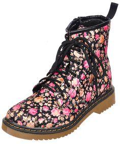 """Coco """"Retro Rose"""" Combat Boots (Sizes 11 – 13.5, 1 – 7) - CookiesKids.com"""