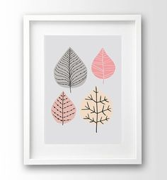 Leaves Illustration Printable art Coral and Grey by nanamiadesign