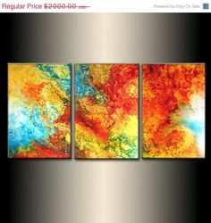 Original Abstract painting Contemporary modern Fine Art by Henry Parsinia ,72x36 large