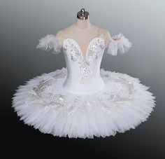 White Professional Ballet Tutu Classical Dance Costume Competition Performance