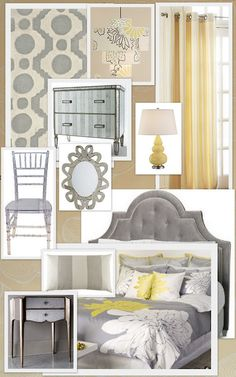Gray + yellow for my master bedroom