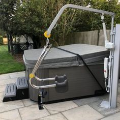 Extended Height and Reach Hot Tub Hoist - Dolphin Mobility Hot Tub Backyard, Backyard Pools, Pool Decks, Pool Landscaping, Handicap Lifts, Natural Swimming Pools, Natural Pools, Handicap Bathroom, Wheelchair Accessories