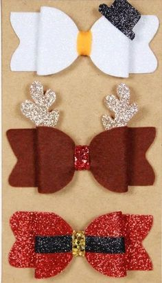 *Handmade Christmas Bow Set* - Headband or Clip. Reindeer, Snowman and Santa!