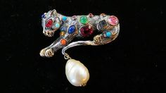 Kenneth Lane 1990's Panther Cat Brooch Jeweled Cat Brooch Book Piece | eBay Sold for $ 63