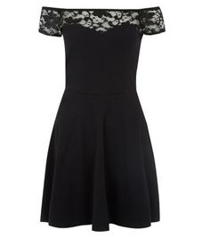 Black Lace Trim Bardot Neck Skater Dress