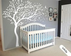 White Tree Wall Decal Large Tree wall decal Wall Mural Stickers Wall Decals Decor Nursery Tree and Birds Wall Art Tattoo Nature - 099