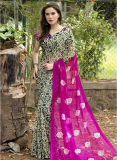 Designer Pink #printedsaree#sarees