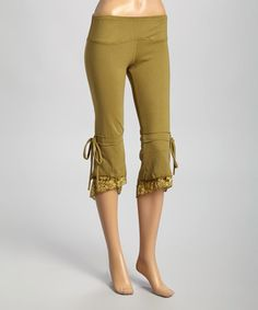 This Olive Lace & Drawstring Capri Pants by Avatar Imports is perfect! #zulilyfinds